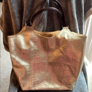 Neiman Marcus Gold Tote Shoulder Bag Snakeskin